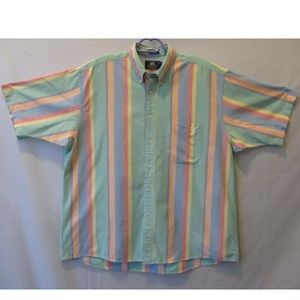 MEN SHIRT SHORT SLEEVE GREEN ORANGE COTTON